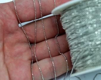 1mm Silver Ball Chain, 30 Meters - 99 Feet (1mm) Silver Tone Brass Faceted Ball Chain Z030