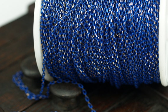 5 Meters - 16.5 Feet 1.2 x 2 mm  Dark Blue and Gold Color Brass Soldered  Chain - Bg1.2