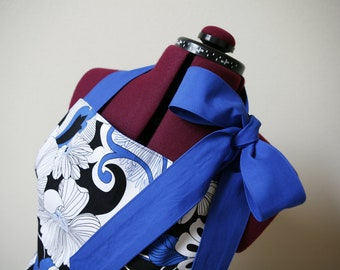 Blue, Black, and White Woman's Full Ruffled Apron