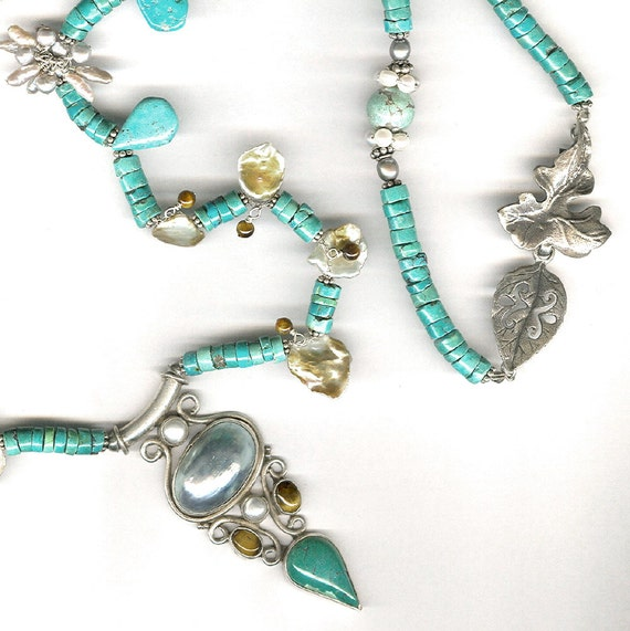 Mabe pearl, turquoise, cornflake pearl necklace OOAK