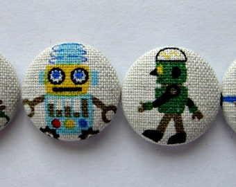 Cute Robots Japanese Linen / Cotton Fabric Covered Buttons For Sewing - 22mm - Set of 4