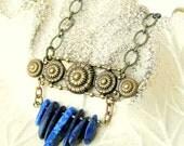 Lapis Necklace, Gemstone Jewelry, Blue Jewelry, Fan Necklace, Lapis Lazuli, Art Nouveau, Brass Jewelry