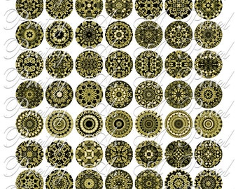 Black & Old Gold Chintzware Tiles - One Inch Circles - Digital Collage Sheet - INSTANT DOWNLOAD