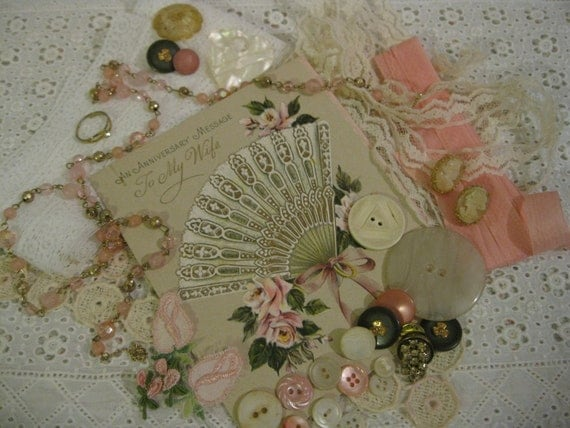 Vintage Pink and Delicate Supplies Lot...Projects  ( 2228 )