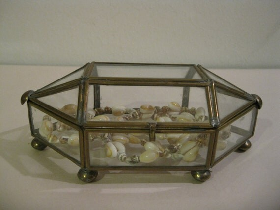 Vintage Brass and Glass Pointed Ends Casket Like Shadow Box....Display Case  ( 2461 )