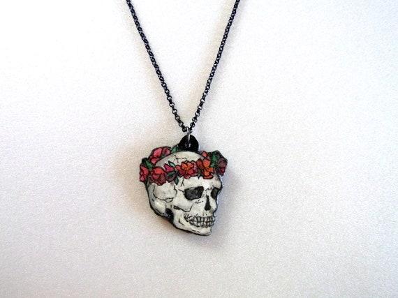Cleanse Sale OOAK Original Hand Painted Human  Skull Necklace Pendant, Original Wearable Art