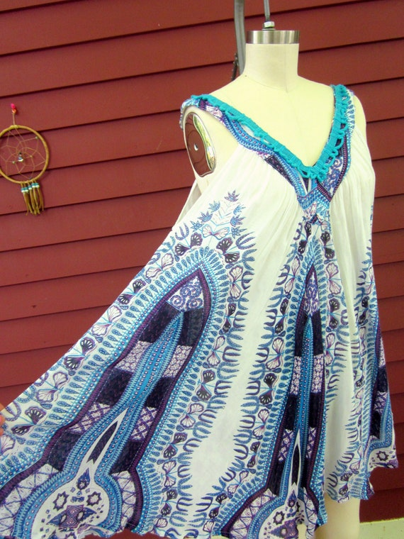 Summer Festival Ethnic Pattern Cotton Tent Trapeze Sundress with Crochet and Trim One Size by MountaInGirlClothing