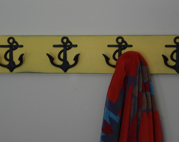 anchor towel rack beach home decor lake cottage river outdoor shower nautical nursery mud room foyer beach towel hooks BeachHouseDreamsHome