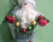 Mini Father Christmas with Garland Felted Wool Ornament