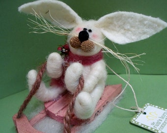 Bunny on Sled Felted Wool Ornament