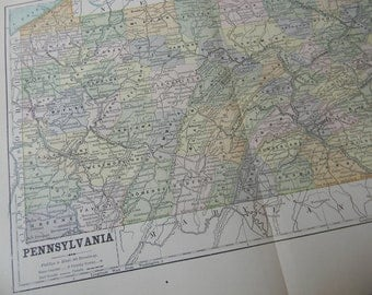 1887 State Map Pennsylvania - Vintage Antique Map Great for Framing 100 Years Old