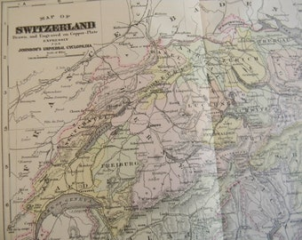 1897 Map Switzerland - Vintage Antique Map Great for Framing 100 Years Old