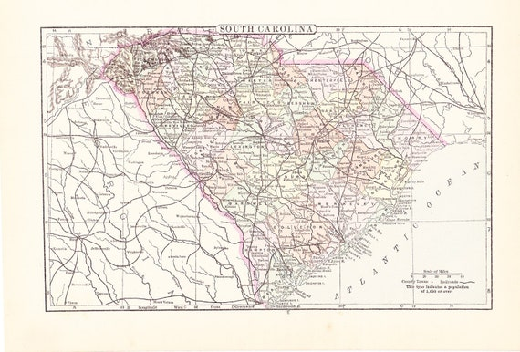 1895 State Map South Carolina - Vintage Antique Map Great for Framing 100 Years Old