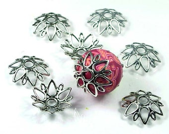 Pewter Flower Large Focal Bead Caps 8 - Lead-Free  24mm (P103)