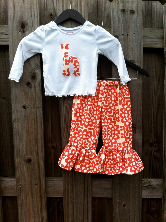 Amy Butlers Cherry Wallflower Ruffle Pants and Initial Tee or Onesie SET