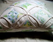 Cathedral Windows Pillow. Muslin with Heather Bailey Print. Ready to use. 14 x 14. Cover Only. Small Business USA