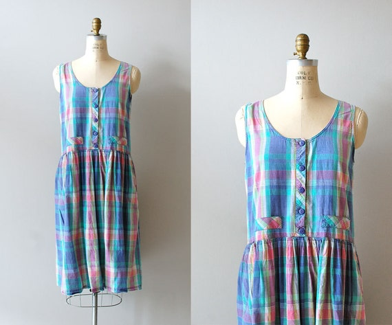 80s sundress / plaid dress / Beachside tent dress
