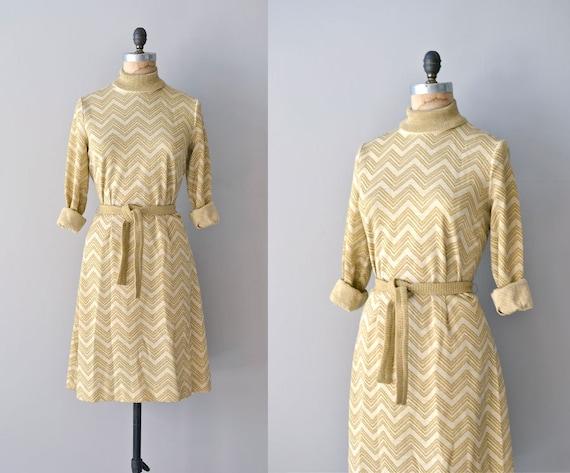 60s dress / knit 1960s metallic dress / Light Fantastic dress