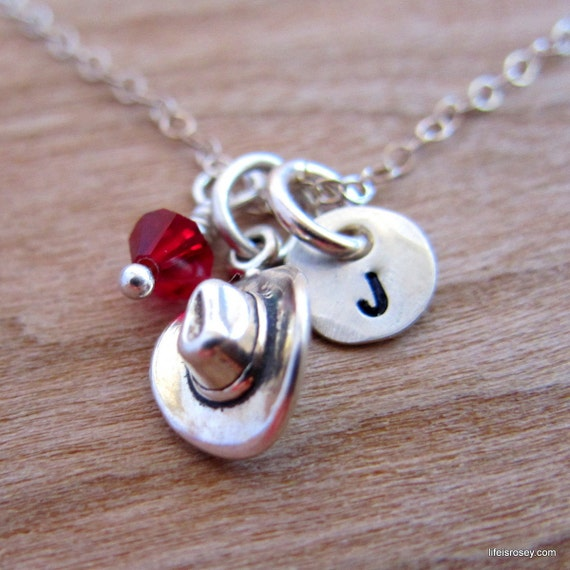 Cowgirl Necklace - Cowboy Hat Charm Necklace with Hand Stamped Initial Disc - Life is Rosey Charm Chain