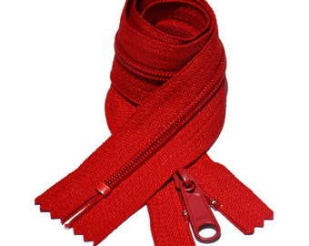Two 14 Inch YKK Long Pull Handbag Zippers  Number 4.5 Color 519 Hot Red