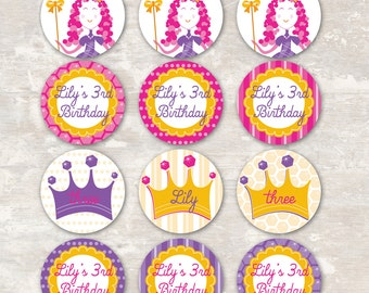 PRINT & SHIP Princess Birthday Party Cupcake Toppers (set of 12) >> personalized and shipped to you | Paper and Cake