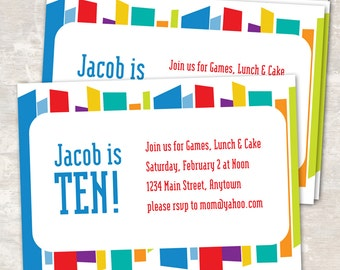 PRINT & SHIP Mod Stripe Birthday Party Invitations (set of 12) >> personalized and shipped to you   Paper and Cake