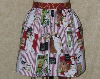 Apron Gingerbread Man Snowman Baker Cover up Christmas All Cotton Cell Phone Pocket Reversible Red Gold