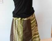 Brown and Green Panel Skirt