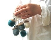 Felted Miniature Decor- Wool Acorns Ornaments SET in Teal Gray White- Tree Ornaments - Eco Friendly Rustic Home Decor