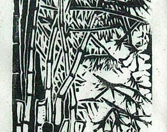 Bamboo, Miniature lino prints of Thailand, limited editions, printed and signed in pencil by artist