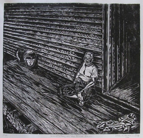 Grandfather on the Front Porch, limited edition lino cut, hand printed, hand signed in pencil by artist