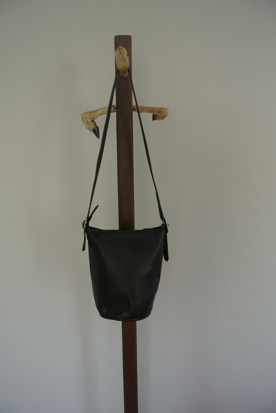Vintage Black Leather Bucket Bag