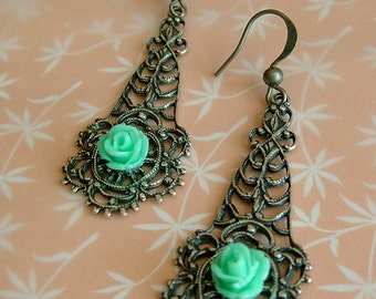 Filigree and Pretty Rose Earrings