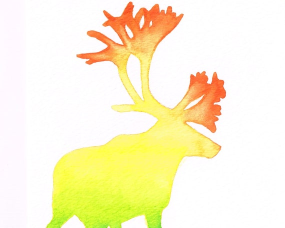 Rainbow Caribou 2 Silhouette Ombre Watercolor - Orange Yellow Green, 5 x 7