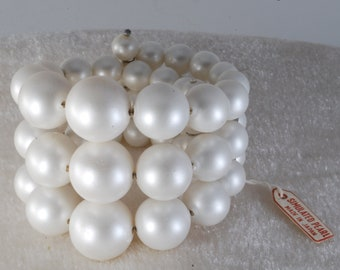 Vintage White Simulated Pearl Bracelet 3 Strand Wire Wrap Around Jewelry