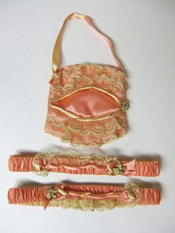 RESERVED Candlelight And Thou 1920's Silk Garter Pair w/ Puff Purse Set Vintage 20's  Flapper Garters