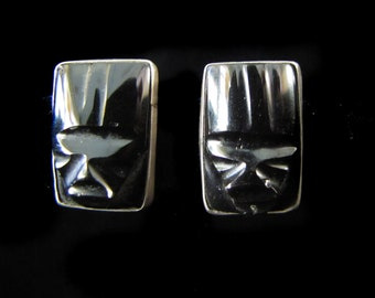 Vintage Mexican Earrings Black Stone and Silver Faces