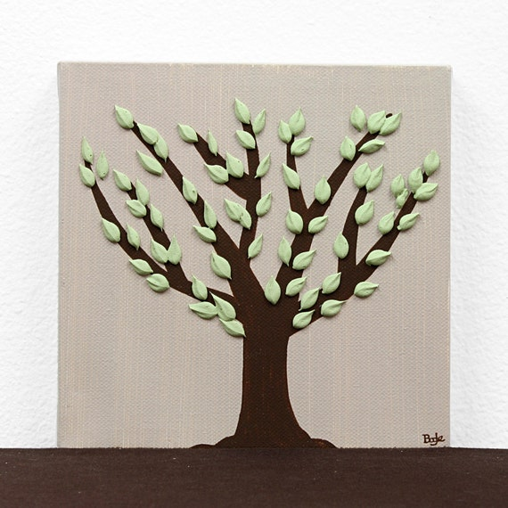 Small Tree Painting - Textured Canvas Artwork in Brown and Green - Mini 6x6