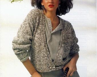 Knitting Pattern for  Cardigan Vintage Original 1980s