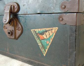 Vintage CHILDS DOLL TRUNK Old Labels Wooden with Metal Framework Cottage Home Style