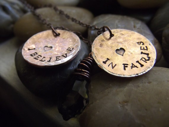 I Believe in Fairies Pendant pennies, Ready to Ship