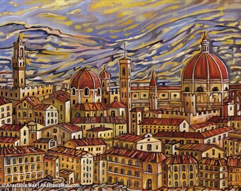 Florence Roofs, Florence, Italy, Duomo, Firenze, 5x7 Art Print, by Anastasia Mak