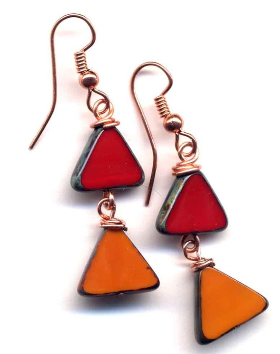 Red and Orange Earrings. Foliage Color Earrings. Rectangular Earrings. Czech Beads Earrings. Fall Earrings. Cooper Earrings. Jewelry by Anna