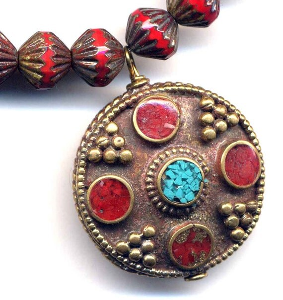 Nepalese Coral and Turquoise Mandala Pendant, Pendand on Red Czech Beads Necklace, Red Ethnic NecklaceHandmade Nepal Jewelry