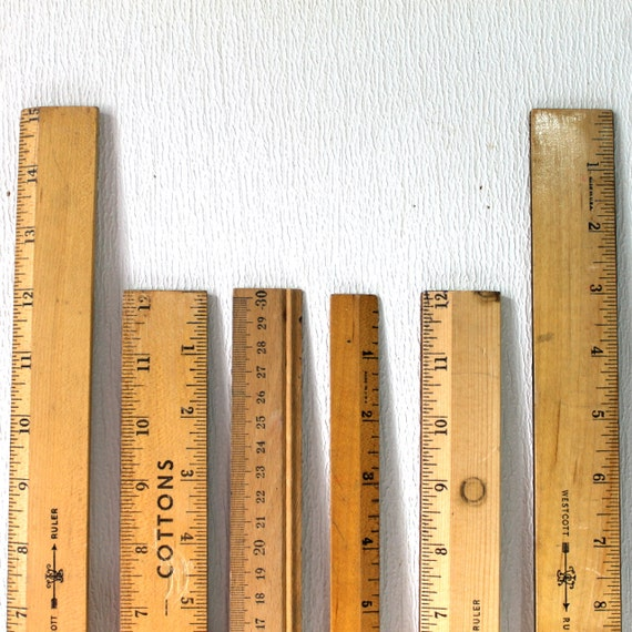 Set of 6 vintage wooden rulers 12 inches and longer advertising