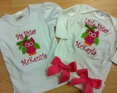 Custom Monogrammed and Appliqued Big Sister and Little Sister Shirt and Layette Gown