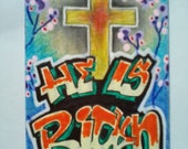 ACEO Original Illustration Christian Jesus Cross Risen Flowers Orange