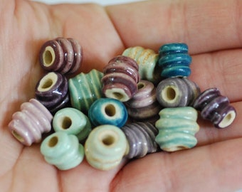 Handmade Ceramic Beads - Spiral Twist Beads - Made To Order - You PIck The Color Palette - Marsha Neal Studio - Handmade Porcelain Beads