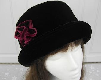 Rich Black VELVET Hat with burgundy velvet rose, Women's Velvet Hat, Winter Velvet Hat, Black Velvet Hat