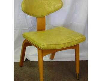 MCM Blonde Side Chair Vintage Patterned Vinyl Blond Mid Century Modern Heywood Wakefield Like